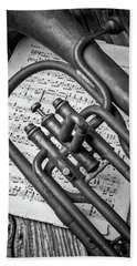 Old Horn And Sheet Music Hand Towel
