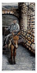 Hand Towel featuring the painting Old Man On A Donkey by Judy Kirouac