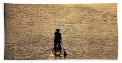 Old Man Paddling Into The Sunset Hand Towel