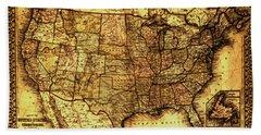 Old Map United States Bath Towel