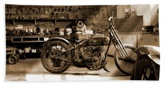 Old Motorcycle Shop Bath Towel