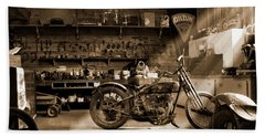 Old Motorcycle Shop Bath Towel