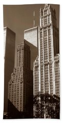 Old New York Photo - Woolworth Building And World Trade Center Bath Towel