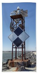 Old Ocmd Inlet Jetty Beacon And Foghorn 2 Bath Towel