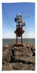 Old Ocmd Inlet Jetty Beacon And Foghorn Bath Towel