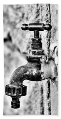 Old Outdoor Tap - Black And White Bath Towel
