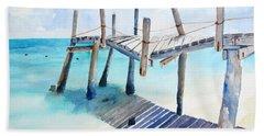 Old Pier On Playa Paraiso Hand Towel