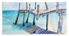 Old Pier On Playa Paraiso Bath Towel