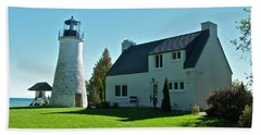 Old Presque Isle Lighthouse_9480 Hand Towel by Michael Peychich