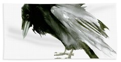 Old Raven Hand Towel by Suren Nersisyan