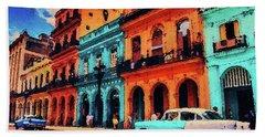 Bath Towel featuring the painting Old Retro Car In Havana by PixBreak Art