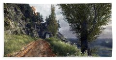 Hand Towel featuring the digital art Old Road By The Sea by Kai Saarto