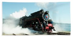 Old Russian Train On Bajkal Hand Towel by Tamara Sushko