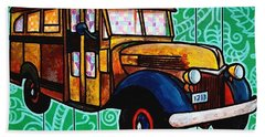 Old Rusted School Bus With Quilted Windows Hand Towel