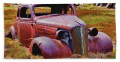 Old Rusty Car Bodie Ghost Town Hand Towel
