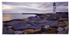 Old Scituate Light At Sunrise Bath Towel