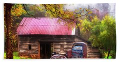 Hand Towel featuring the photograph Old Smoky Truck And Barn by Debra and Dave Vanderlaan