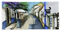Hand Towel featuring the painting Old Street In Obidos, Portugal by Dora Hathazi Mendes