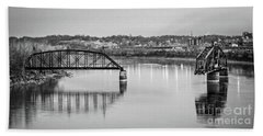 Old Swing Bridge Trestle In Bw Bath Towel