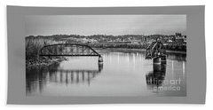Old Swing Bridge Trestle In Bw Hand Towel