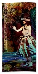 Hand Towel featuring the painting Old Time Hula Dancer by Marionette Taboniar