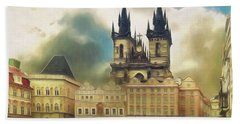 Old Town Square Prague In The Rain Bath Towel