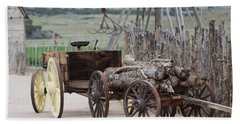 Old Tractor And Wagon In Foreground Cove Creek Fort Photography By Colleen Hand Towel