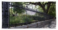 Old Tree And Ornate Fence Hand Towel