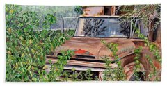 Bath Towel featuring the painting Old Truck Rusting by Marilyn  McNish