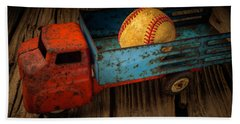 Old Truck With Basball Hand Towel by Garry Gay