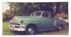 Old Vintage American Car Bath Towel by Edward Fielding