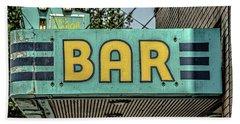 Old Vintage Bar Neon Sign Livingston Montana Hand Towel