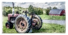 Old Vintage Tractor On The Farm Hand Towel
