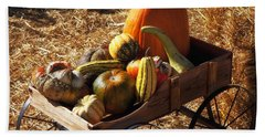 Old Wagon Full Of Autumn Fruit Bath Towel