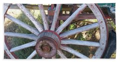 Hand Towel featuring the photograph Old Wagon Wheel by Dora Sofia Caputo Photographic Art and Design