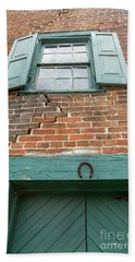 Old Warehouse Window And Lucky Door Hand Towel