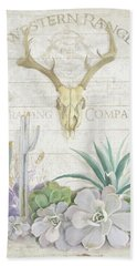Hand Towel featuring the painting Old West Cactus Garden W Deer Skull N Succulents Over Wood by Audrey Jeanne Roberts
