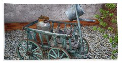 Old Wheelbarrow With Milk Churn Hand Towel