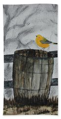 Hand Towel featuring the painting Old Wood Barrel by Jack G Brauer