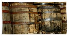 Old Wood Whiskey Barrels Bath Towel