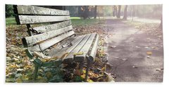 Rustic Wooden Bench During Late Autumn Season On Bright Day Bath Towel