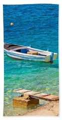 Old Wooden Fishermen Boat On Turquoise Beach Hand Towel