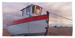 Old Wooden Fishing Boat Home By Sunset Bath Towel