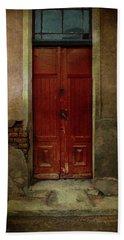 Old Wooden Gate Painted In Red  Bath Towel by Jaroslaw Blaminsky