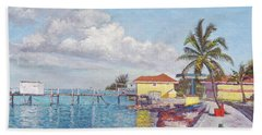 Old Yellow Gas Station By The Waterfront - Cooper's Town Bath Towel