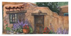 Bath Towel featuring the painting Old Adobe Cottage by Marilyn Smith