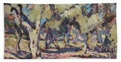 Hand Towel featuring the painting Olive Grove Along Marmari Beach Paxos by Nop Briex