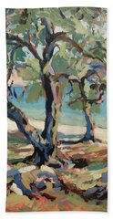 Olive Trees Along Marmari Beach Paxos Bath Towel