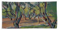 Bath Towel featuring the painting Olive Yard Paxos Greece by Nop Briex