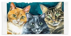 Oliver, Willow And Walter - Cat Painting Bath Towel